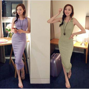 Simple design slim dress