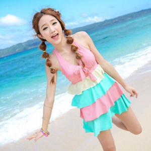 Special offer-Defective Multi layer colour sweet halter neck swimsuit