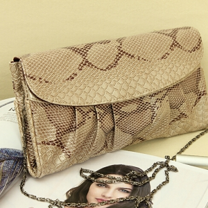 Trendy patent leather clutch chain bag