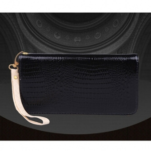 Croco Skin style PU leather zip wallet