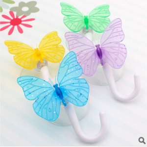 2pc Butterfly Design Decorative  Bathroom Wall Hooks