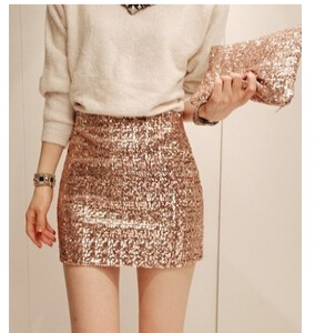 Slim metallic skirt