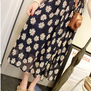 Floral chiffon long skirt
