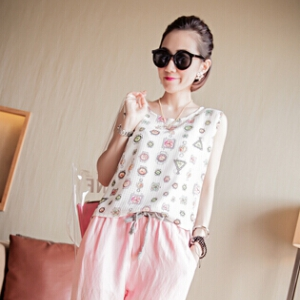 Clock sleeveless chiffon top