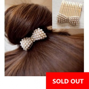 G18 Diamond pearl bow Hair Comb Hair Accessories