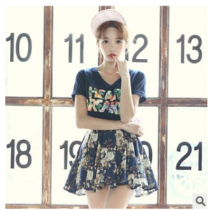 T-shirt+floral printed skirt set J473