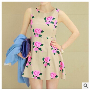 Floral sleeveless dress A373