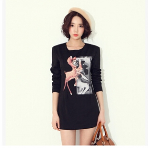 Deer print slim dress