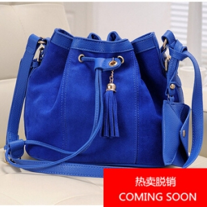 Korean Style Matte Leather Bucket Bag (Blue)