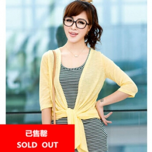 Defective 3/4 sleeve knitted ultra light weight cardigan