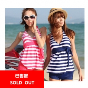 Striped design swimsuit