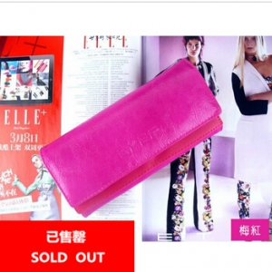 Korean Style Long PU double clutch Wallet (Magenta)
