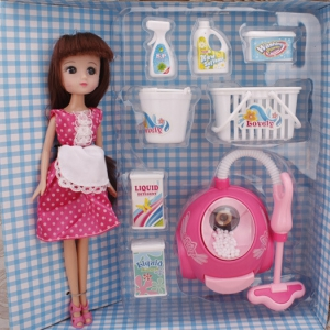 Vacuum cleaning toy set with 9 inch doll