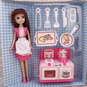 Kitchen stove toy set with doll