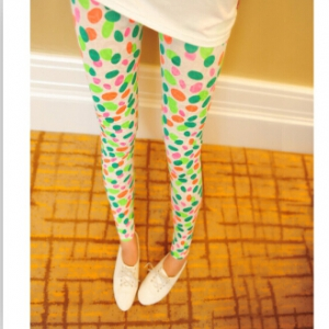 D215 Stretchable thin gauze graffiti print leggings