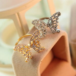 Crystal Butterfly Rings