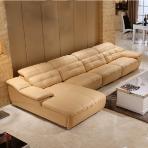 Preorder-Leather three seat sofa +chaise longue