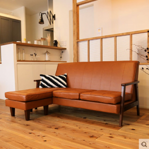 preorder- Leather two-seat sofa+chaise longue