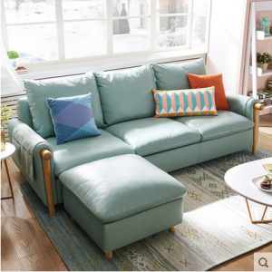 Preorder-Leather three seat sofa+foot stool