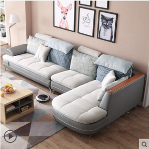 Preorder-Fabric three seat sofa+chaise longue