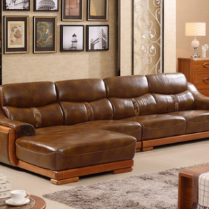 Preorder-Leather three-seat sofa + chaise longue
