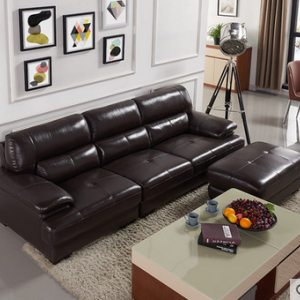Preorder-Leather three-seat sofa+foot stool