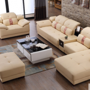 Preorder-Leather three-seat sofa+armchair+chaise longue+foot stool+side table
