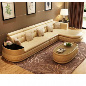 Preorder-Leather three-seat sofa +chaise longue