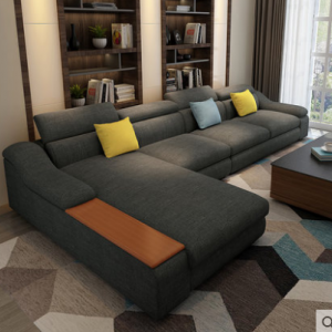 Preorder-Fabric three-seat sofa + chaise longue