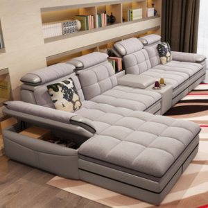Preorder-Fabric three-seat sofa+ chaise longue+side table