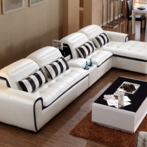Preorder-Leather three-seat sofa+chaise longue+side table