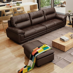 Preorder-Leather three-seat sofa +foot stool