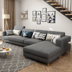 Preorder-Fabric three-seat sofa+chaise longue