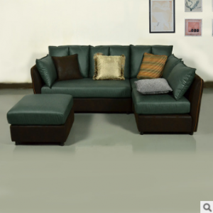 Preorder-Leather four-seat corner sofa+foot stool