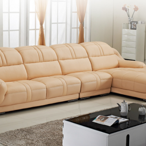 Preorder-Leather three-seat sofa+chaise longue