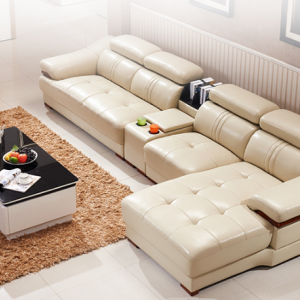 Preorder-Leather three-seat sofa+chaise longue+sideboard