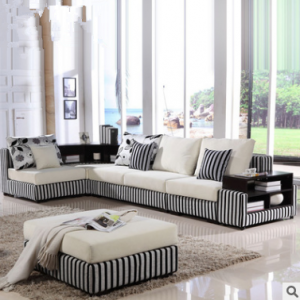 Preorder-Fabric four-seat corner sofa+foot stool
